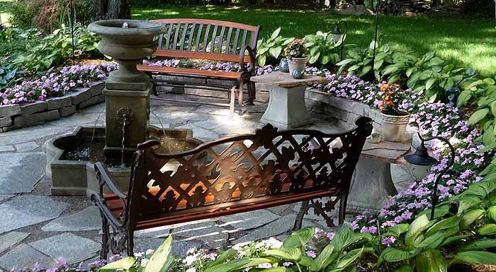 Replace Pond With Fountain and Flagstone Patio, Garden Makeover 11
