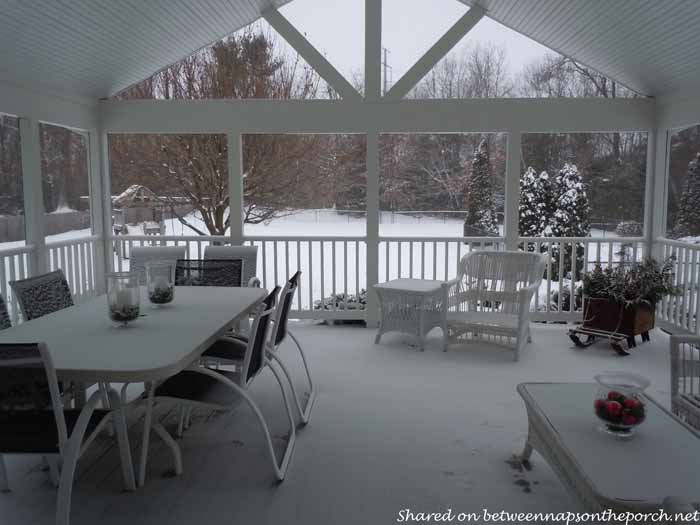 Snow On A Screened Porch