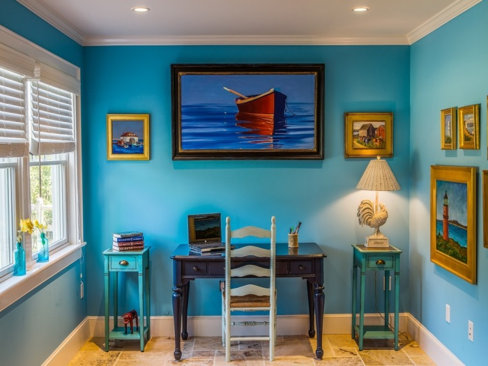 Turquoise Walls In Beach Cottage