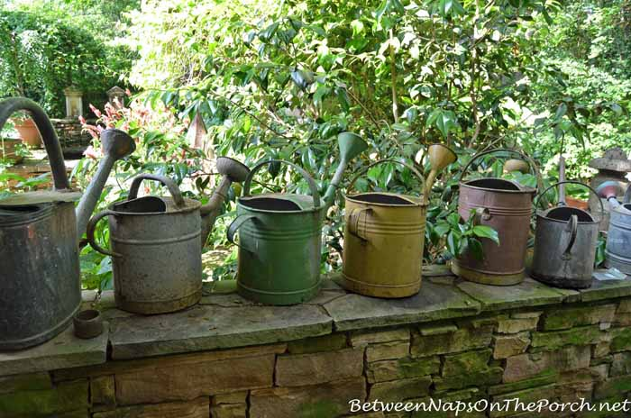 Vintage Watering Cans In Ryan Gainey's Garden