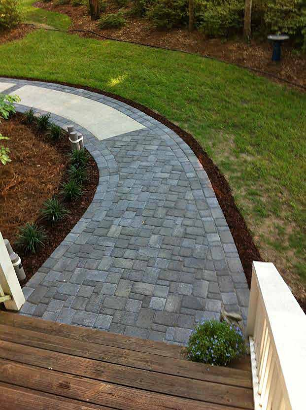 Walkway Makover with Gray Pavers
