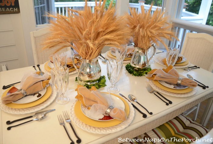 Wheat and Wreath Centerpiece For Autumn Fall Table_wm
