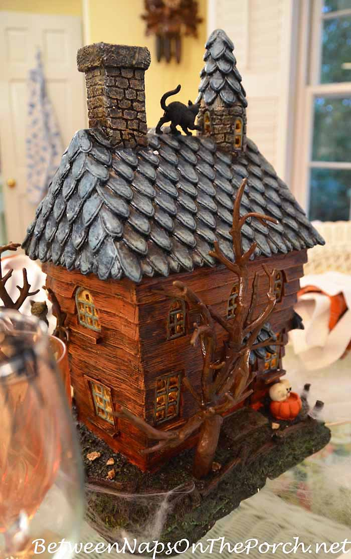 A Lit Haunted House Centerpiece