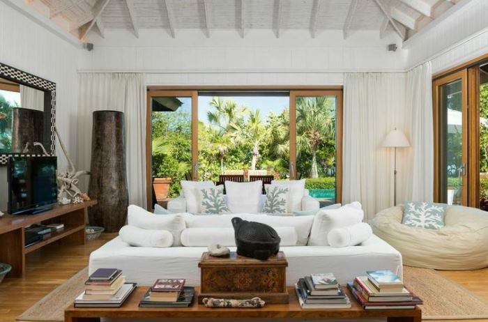 Christie Brinkley's Parrot Cay Living Room