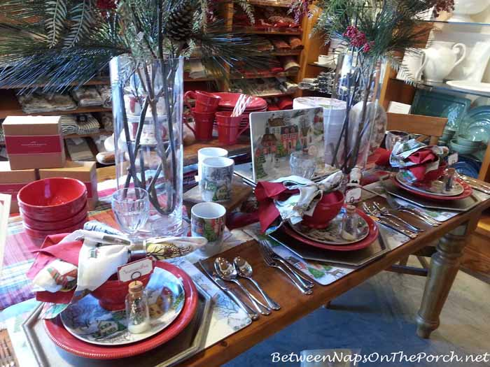 Christmas Table With Pottery Barn Winter Village Dishware