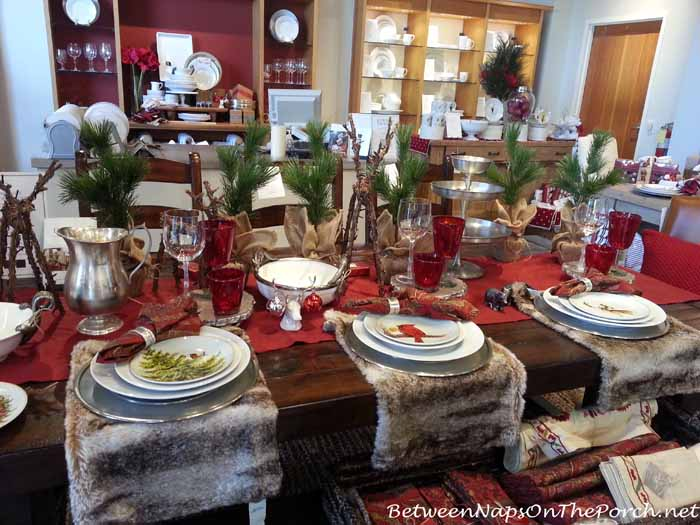 Christmas Tablescape with Pottery Barn Forest Salad Plates