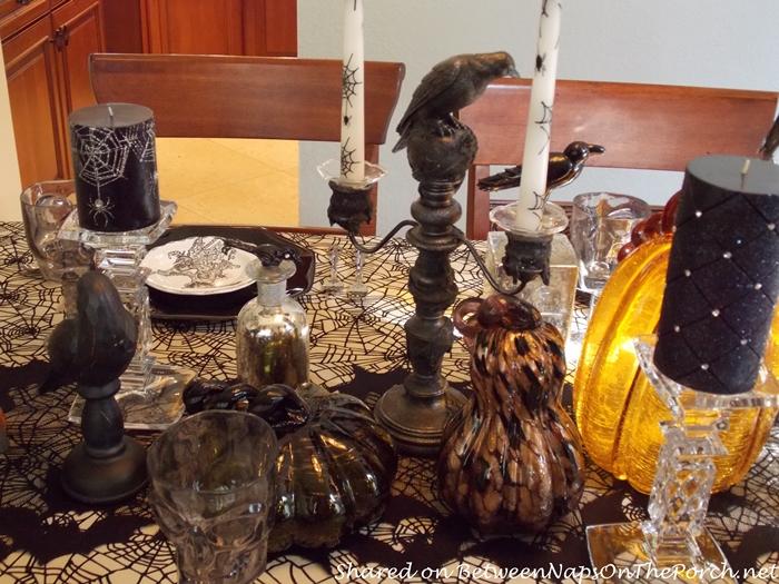 Crow Centerpiece For Halloween Table