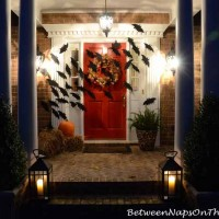 Halloween Front Porch With Bats Across Door