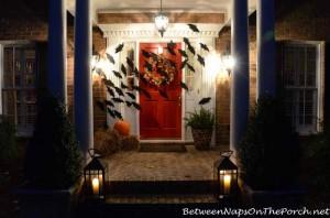 Halloween Front Porch With Bats Across Door