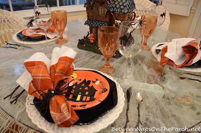 Halloween Plates and Black Cat Glasses