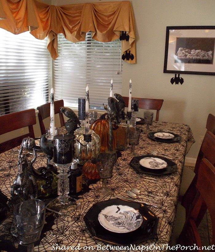Halloween Table Setting with Crows