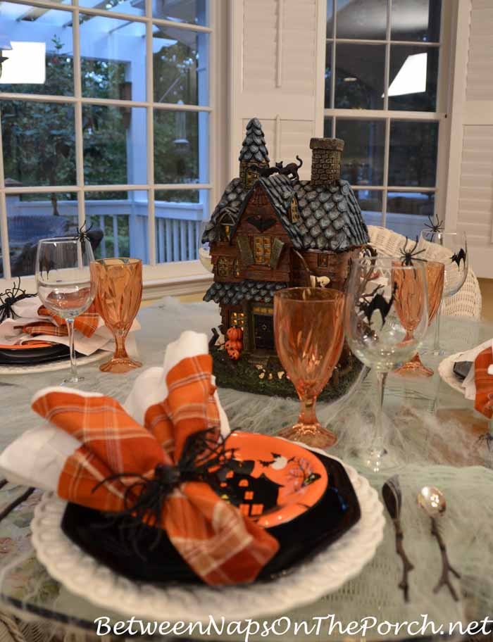 Halloween Tablescape, Cobweb Tablecloth, Haunted House Centerpiece