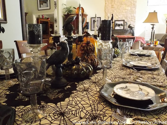 Halloween Tablescape With Spider Tablecloth