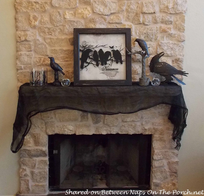 mantel decorated with crows for halloween - Raven Halloween Decorations