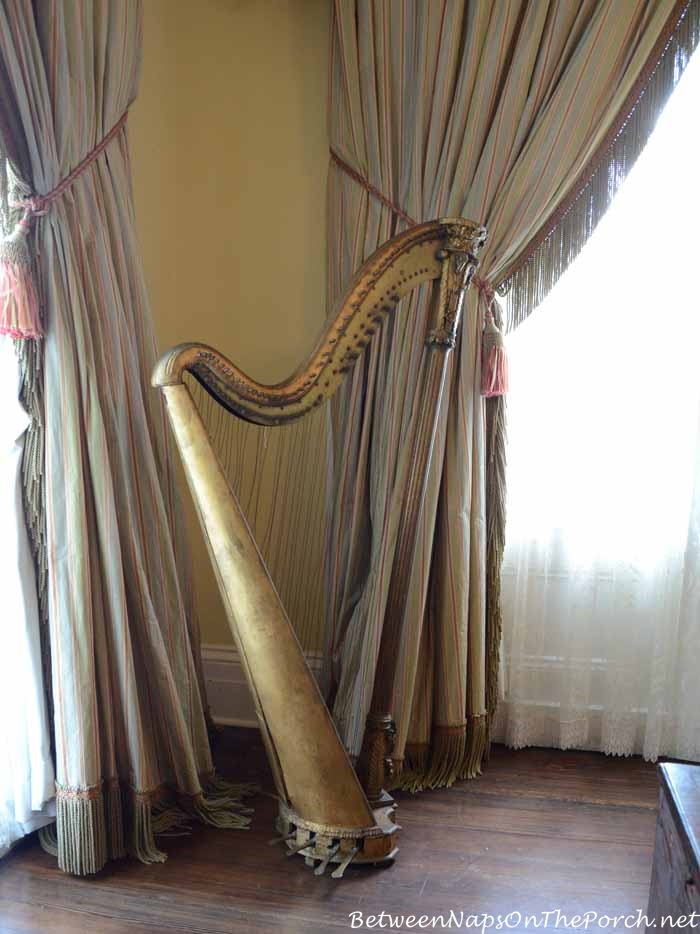 Nottoway Plantation Harp in Music Room