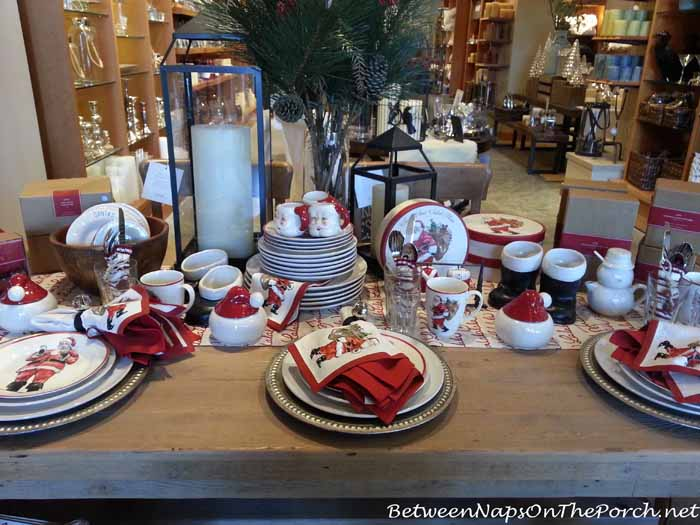 Pottery Barn Painted Santa Dishware in Christmas Table Setting