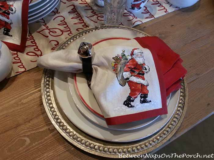 Pottery Barn Painted Santa Napkins