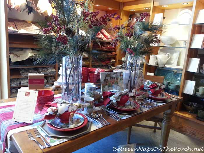 Pottery Barn Winter Village Dishes in a Christmas Tablescape