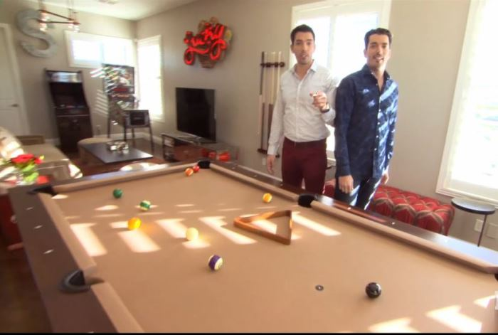 Property Brothers Jonathan Drew and Scott in their Home's Game Room
