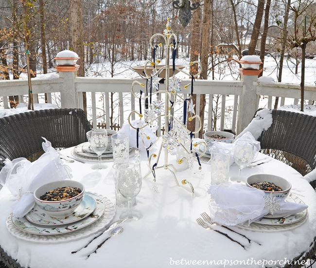Winter Tablescape in Snow with David Carter Brown Christmas Valley Dishware