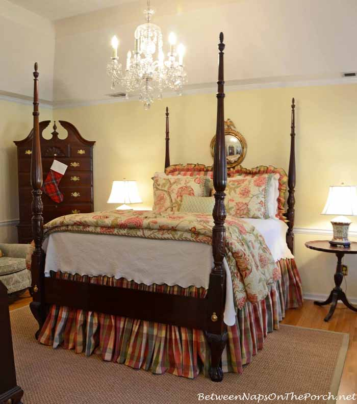 4 Poster Bed with Plaid Moire Bedskirt