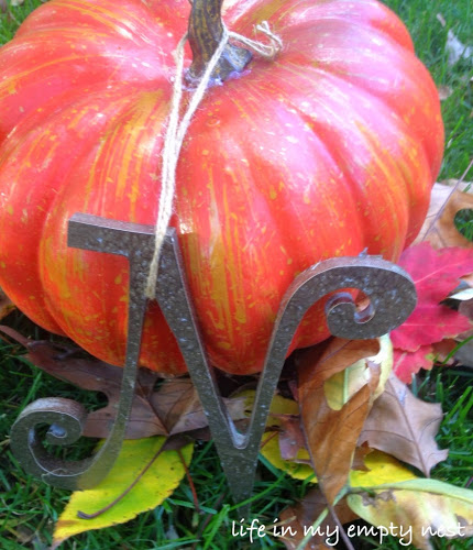 Add A Monogram to A Pumpkin For Your Front Porch