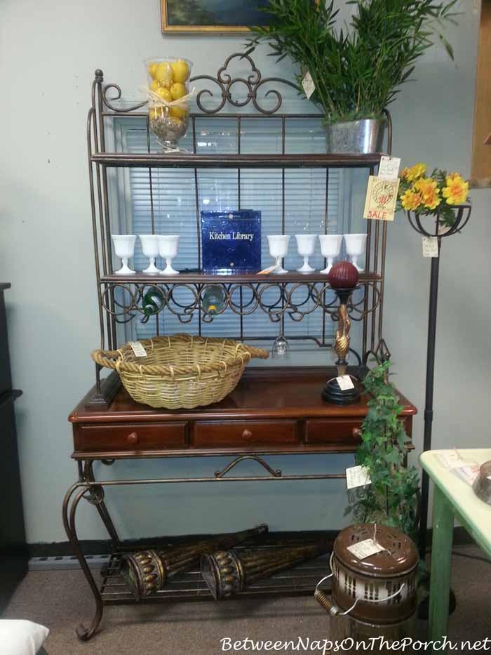 Baker's Rack with Wood Shelves
