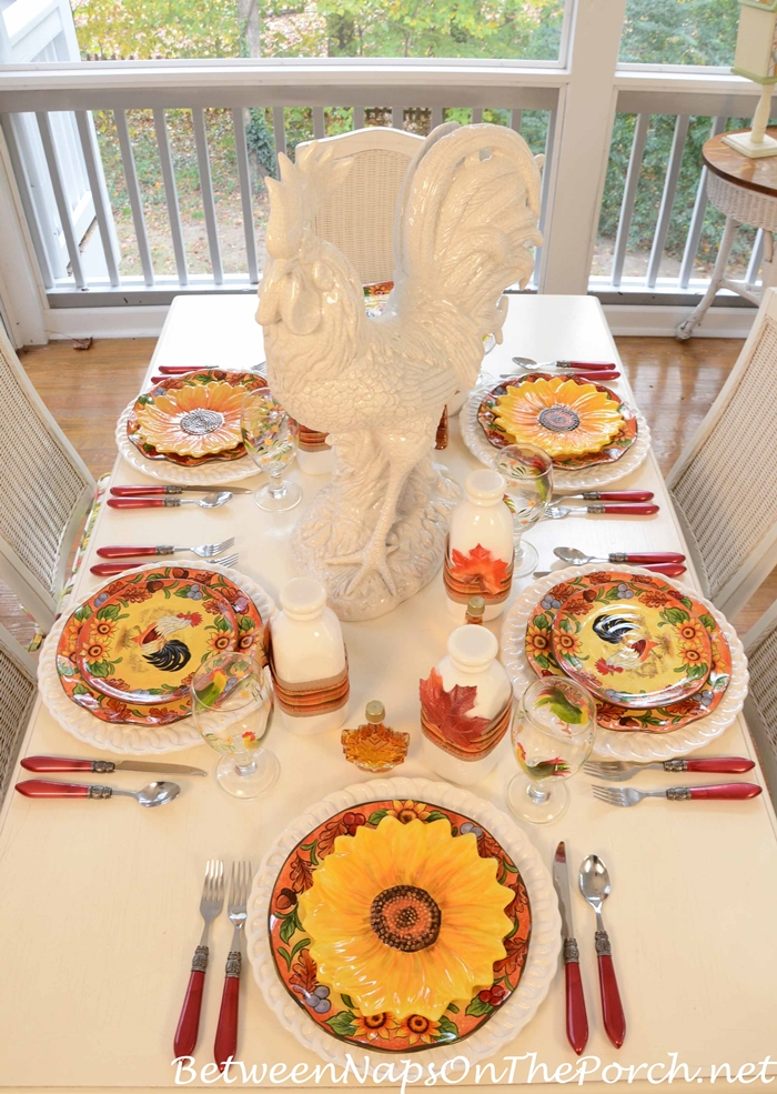 Breakfast Tablescape With Rooster Dishware and Sunflower Plates
