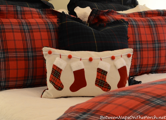 Christmas Pillow with Tartan Stockings