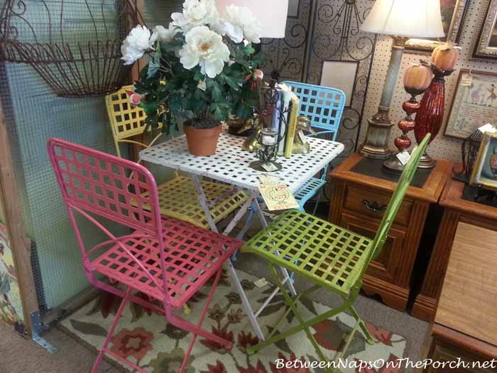 Colorful Metal Garden Table With Chairs