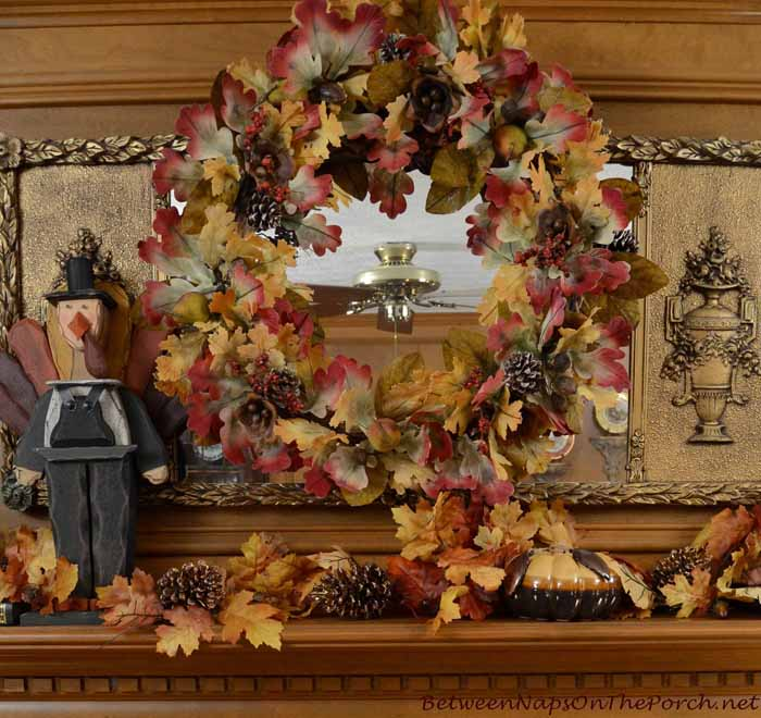 Decorate Mantel With Fall Wreath