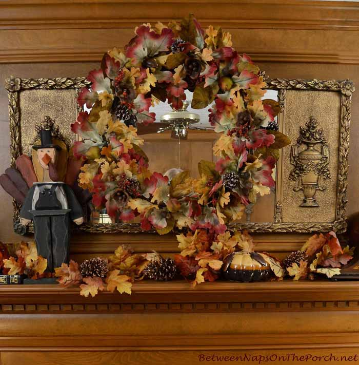 Decorate Mantel for Fall and Thanksgiving