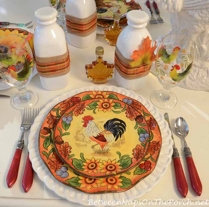 Fall Breakfast Table Setting With Maple Syrup and Maple Leaves