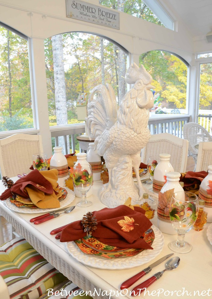 Fall Dining With Rooster Dishes and Rooster Centerpiece