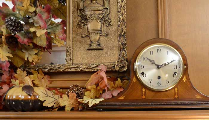 Fall Mantel with Mantel Clock