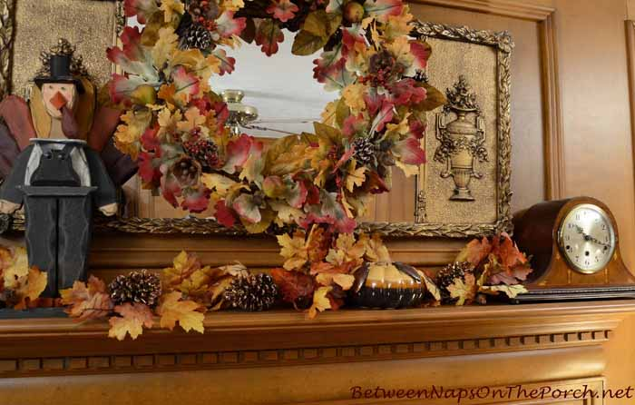 Fall Thanksgiving Mantel With Turkey and Autumn Wreath