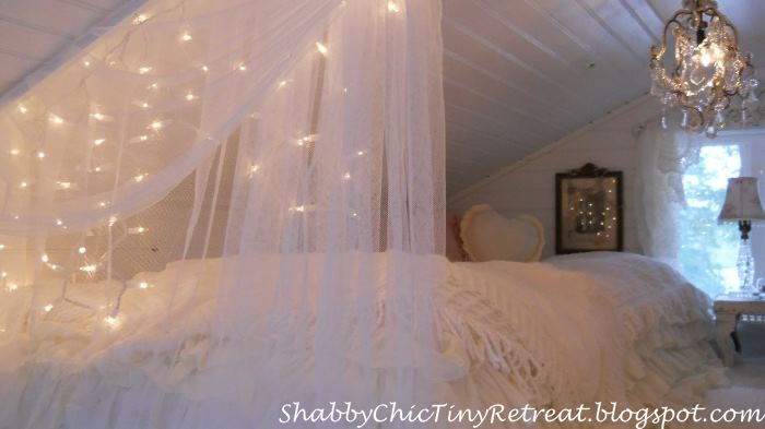 Guest Room Decorated With Fairy Lights for Christmas