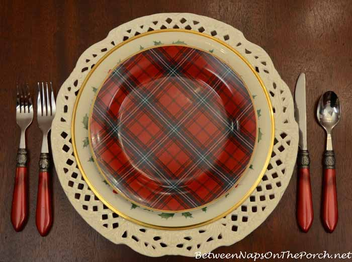 Lenox Holiday Dinner Plate and Williams-Sonoma Tartan Salad Plate