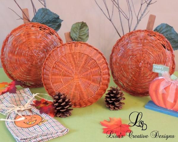 Orange Baskets Create a Fun Pumpkin Patch Display
