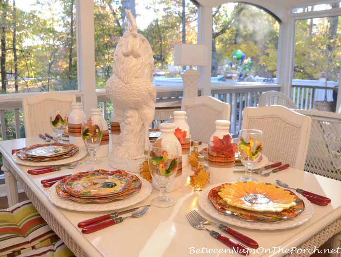 Pancake Breakfast Table Setting, Autumn on the Porch