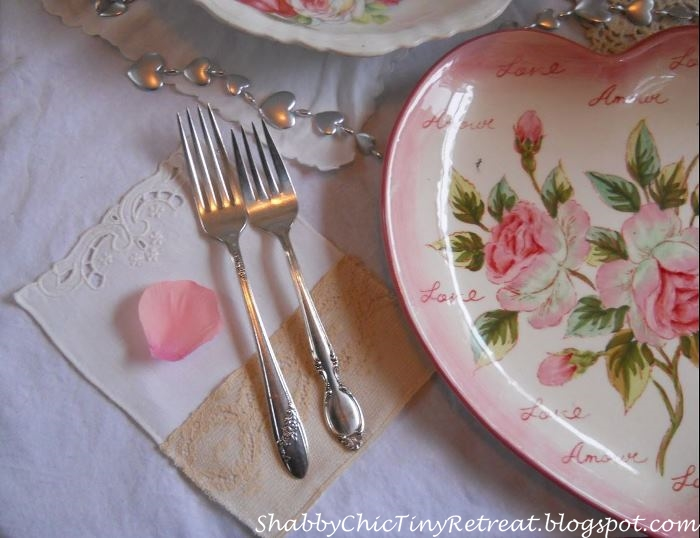 Pink Floral Heart-Shaped Plates and Mismatched Silver For a Shabby Chic Valentine's Day Celebration