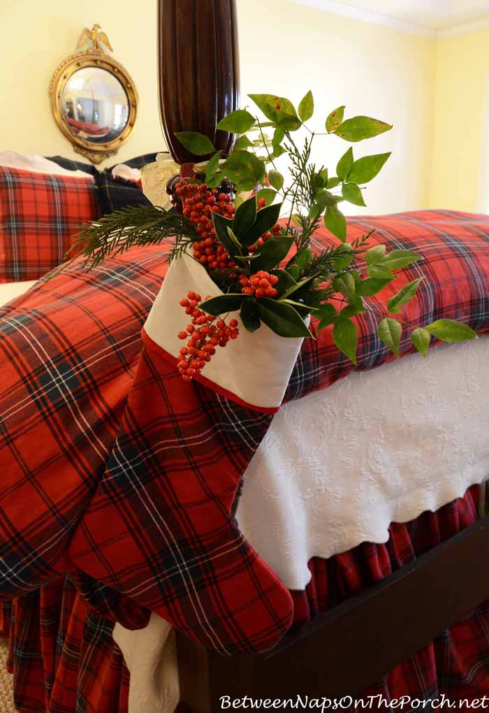 Plaid Stocking on Bed Post
