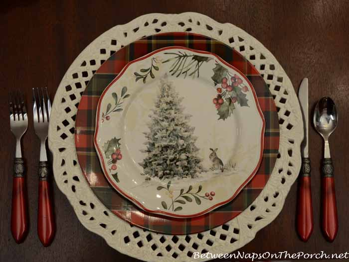 Pottery Barn Plates and Better Homes and Gardens Christmas Plates with Tree and Bunny
