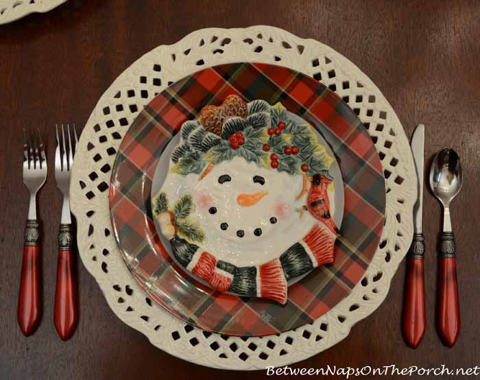 Pottery Barn Tartan Plates and HomeGoods Snowman Plates