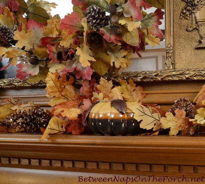 Pumpkins for a Fall Thanksgiving Mantel_wm