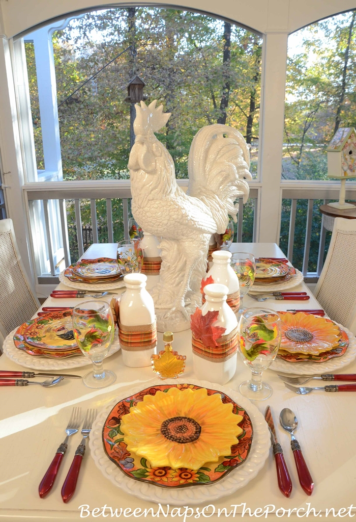 Rooster Centerpiece for Breakfast Table Setting Tablescape