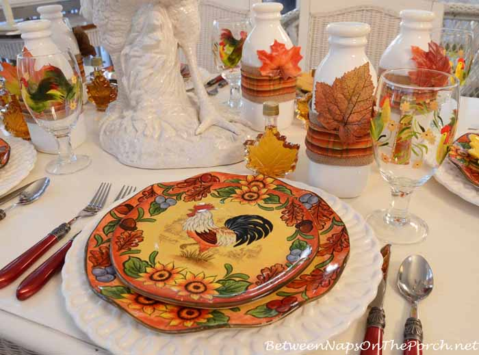 Rooster Dishware For a Breakfast Tablescape