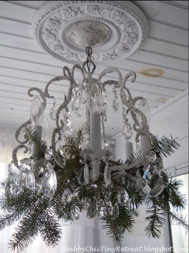 Shabby Chic Chandelier Decorated for Christmas
