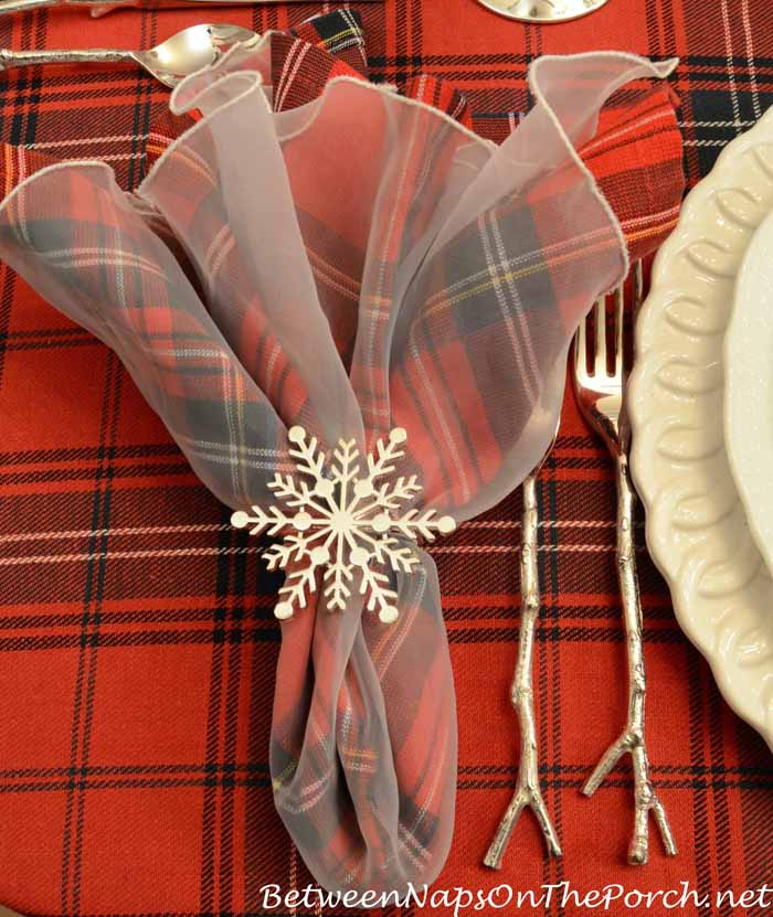 Snowflake Napkin Ring and Silver Twig Flatware