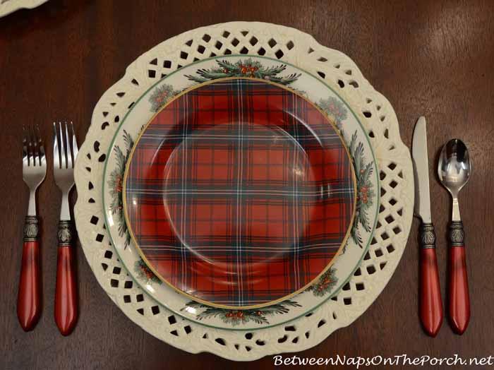 Spode Christmas Garland Plates and Williams-Sonoma Tartan Plates